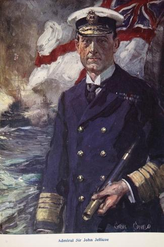 Admiral Sir John Jellicoe, Illustration from Told in the Huts: The YMCA Gift Book, Published 1916-Cyrus Cuneo-Stretched Canvas Print