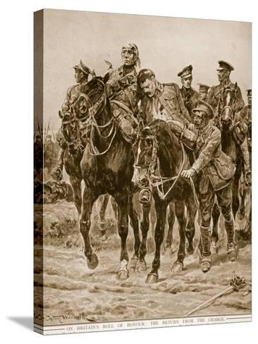 On Britain's Roll of Honour: The Return from the Charge-Richard Caton Woodville-Stretched Canvas Print