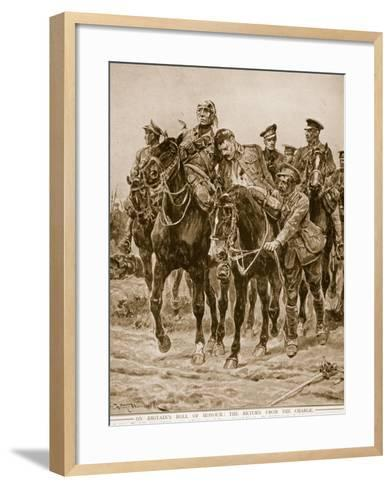 On Britain's Roll of Honour: The Return from the Charge-Richard Caton Woodville-Framed Art Print
