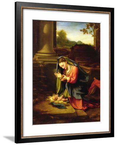 Our Lady Worshipping the Child, c.1518-20-Correggio-Framed Art Print