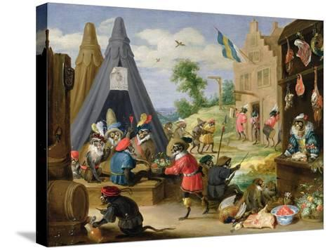 Monkey Encampment-David Teniers the Younger-Stretched Canvas Print