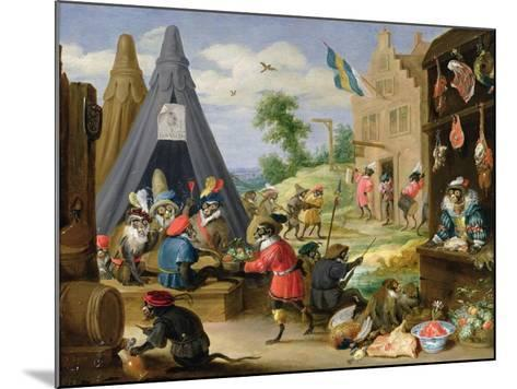 Monkey Encampment-David Teniers the Younger-Mounted Giclee Print