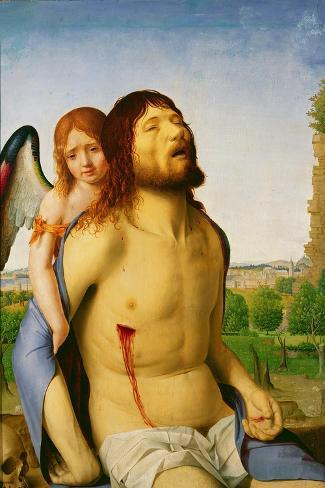 The Dead Christ Supported by an Angel, c.1475/78-Antonello da Messina-Stretched Canvas Print