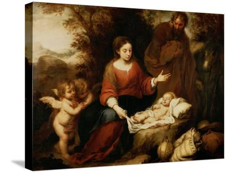 The Rest on the Flight Into Egypt-Bartolome Esteban Murillo-Stretched Canvas Print