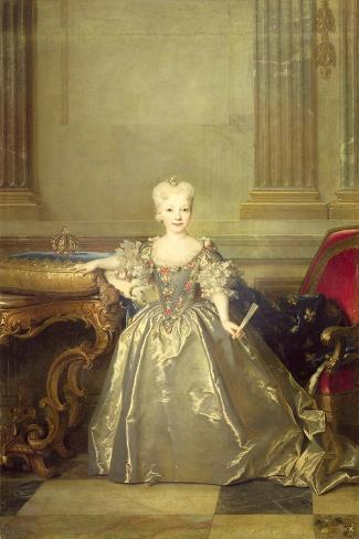 Infanta Maria Anna Victoria de Bourbon, 1724-Nicolas de Largilliere-Stretched Canvas Print