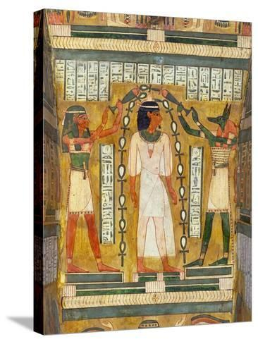 Libation of the Dead, Interior of the Sarcophagus of Amenemipet, Priest of the Cult of Amenophis-Egyptian 18th Dynasty-Stretched Canvas Print