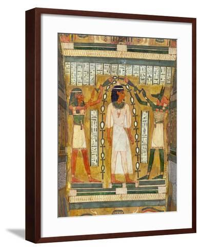 Libation of the Dead, Interior of the Sarcophagus of Amenemipet, Priest of the Cult of Amenophis-Egyptian 18th Dynasty-Framed Art Print