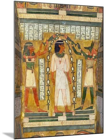 Libation of the Dead, Interior of the Sarcophagus of Amenemipet, Priest of the Cult of Amenophis-Egyptian 18th Dynasty-Mounted Giclee Print