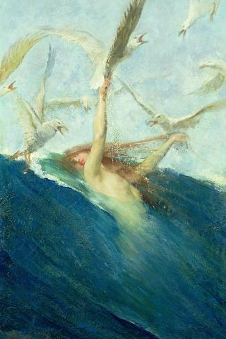 Mermaid Being Mobbed by Seagulls-Giovanni Segantini-Stretched Canvas Print