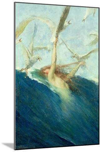 Mermaid Being Mobbed by Seagulls-Giovanni Segantini-Mounted Giclee Print