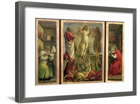 Triptych: Transfiguration, Jesus Appearing to His Disciples with Ss. Jerome and Augustine-Sandro Botticelli-Framed Art Print