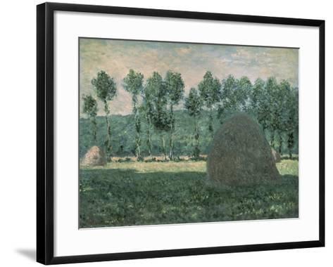 Haystacks Near Giverny, c.1884-89-Claude Monet-Framed Art Print