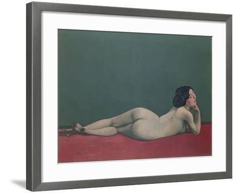 Nude Stretched Out on a Piece of Cloth, 1909-F?lix Vallotton-Framed Art Print