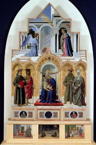 Altarpiece, Madonna and Child with Saints, Miracles of St. Anthony, St. Francis and St. Elizabeth-Piero della Francesca-Stretched Canvas Print