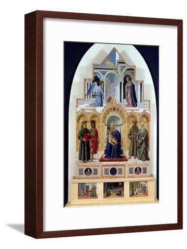 Altarpiece, Madonna and Child with Saints, Miracles of St. Anthony, St. Francis and St. Elizabeth-Piero della Francesca-Framed Art Print