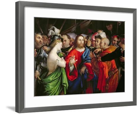 Christ and the Adulteress, c.1527-29-Lorenzo Lotto-Framed Art Print