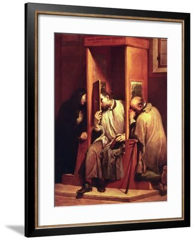 Nepomuk Takes the Confession of the Queen of Bohemia-Giuseppe Maria Crespi-Framed Art Print