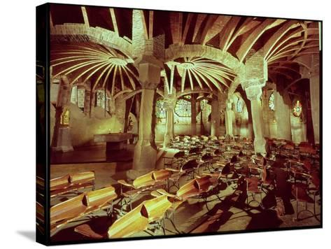 Guell Crypt with Its Tilted Column, Built by Antonio Gaudi-Antoni Gaud?-Stretched Canvas Print