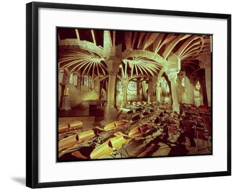 Guell Crypt with Its Tilted Column, Built by Antonio Gaudi-Antoni Gaud?-Framed Art Print