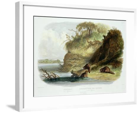 Beaver Hut on the Missouri, Plate 17, Travels in the Interior of North America-Karl Bodmer-Framed Art Print