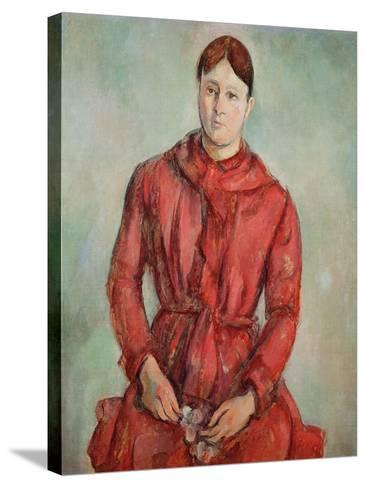 Portrait of Madame Cezanne in a Red Dress, c.1890-Paul C?zanne-Stretched Canvas Print