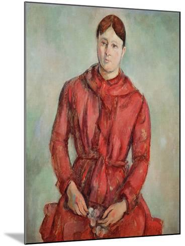 Portrait of Madame Cezanne in a Red Dress, c.1890-Paul C?zanne-Mounted Giclee Print