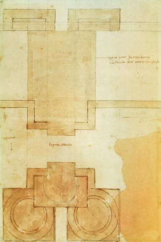 Plan of the Drum of the Cupola of the Church of St. Peter's Basilica-Michelangelo Buonarroti-Stretched Canvas Print