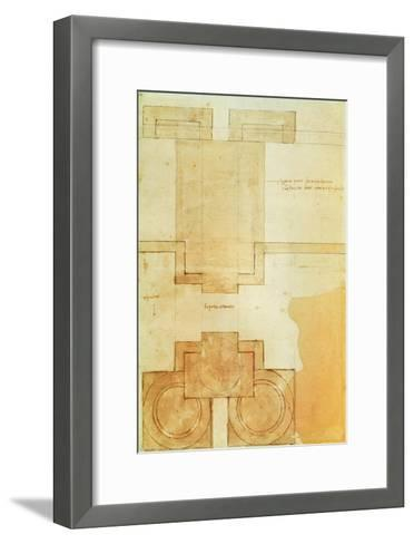 Plan of the Drum of the Cupola of the Church of St. Peter's Basilica-Michelangelo Buonarroti-Framed Art Print
