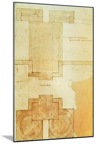 Plan of the Drum of the Cupola of the Church of St. Peter's Basilica-Michelangelo Buonarroti-Mounted Giclee Print