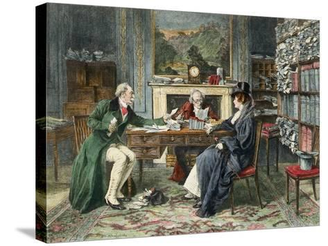 Breach of Promise, Published 1895-Walter Dendy Sadler-Stretched Canvas Print