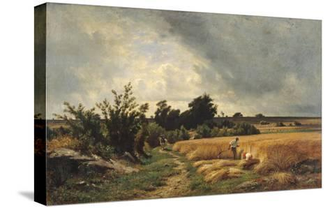 The Plateau of Ormesson - a Path Through the Corn-Francois Louis Francais-Stretched Canvas Print