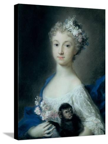 Girl Holding a Monkey-Carriera Rosalba-Stretched Canvas Print