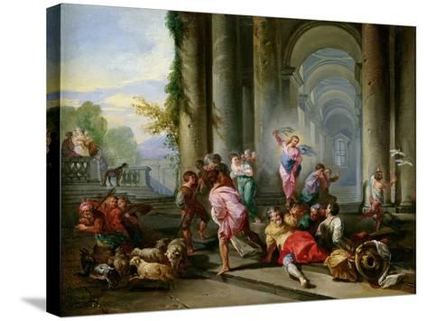 Christ Driving the Merchants from the Temple, c.1720-30-Giovanni Paolo Pannini-Stretched Canvas Print