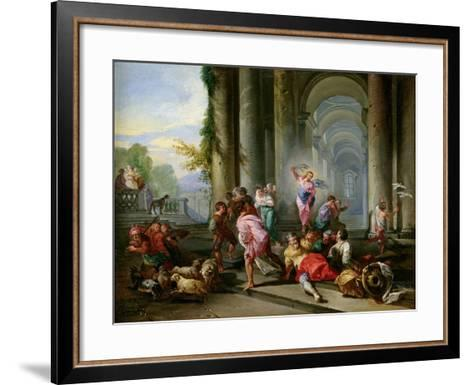 Christ Driving the Merchants from the Temple, c.1720-30-Giovanni Paolo Pannini-Framed Art Print
