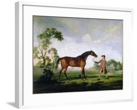"""The Duke of Ancaster's Bay Stallion """"Spectator"""", Held by a Groom, c.1762-5-George Stubbs-Framed Art Print"""