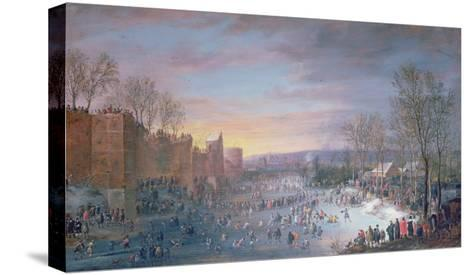 Ice Skating on the Stadtgraben in Brussels, 1649-Robert Van Den Hoecke-Stretched Canvas Print