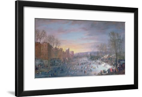 Ice Skating on the Stadtgraben in Brussels, 1649-Robert Van Den Hoecke-Framed Art Print