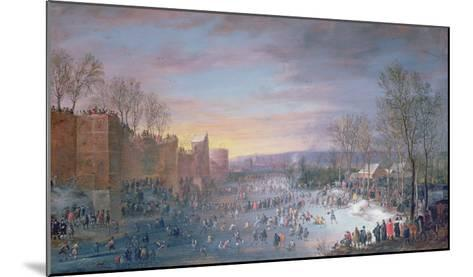 Ice Skating on the Stadtgraben in Brussels, 1649-Robert Van Den Hoecke-Mounted Giclee Print