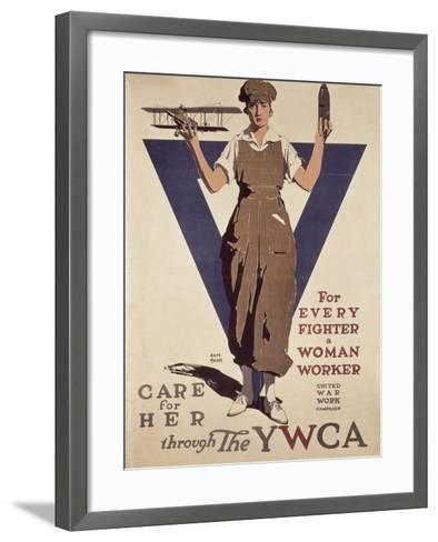 For Every Fighter a Woman Worker, 1st World War Ywca Propaganda Poster-Adolph Treidler-Framed Art Print