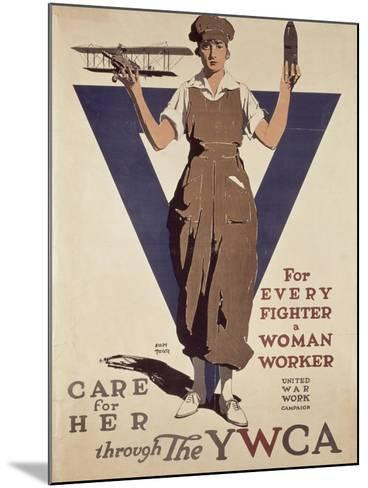 For Every Fighter a Woman Worker, 1st World War Ywca Propaganda Poster-Adolph Treidler-Mounted Giclee Print