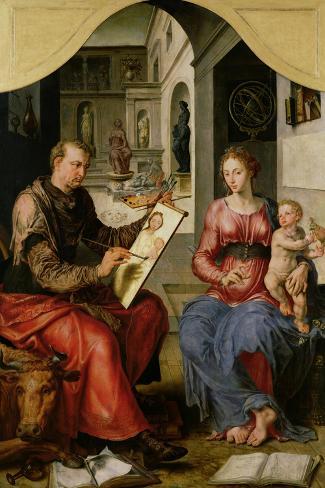 St. Luke Painting the Virgin, c.1545-Maerten van Heemskerck-Stretched Canvas Print