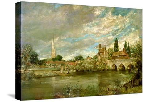 The Bridge of Harnham and Salisbury Cathedral, c.1820-John Constable-Stretched Canvas Print