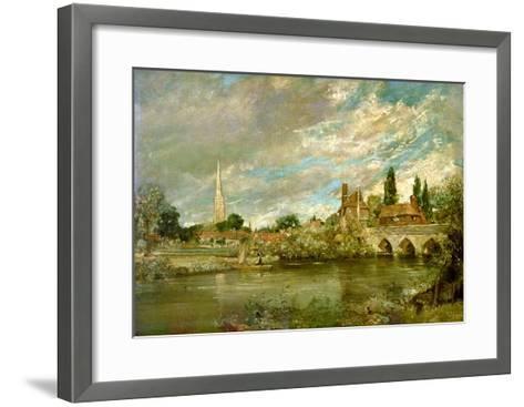 The Bridge of Harnham and Salisbury Cathedral, c.1820-John Constable-Framed Art Print