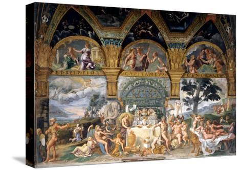 Bbanquet Celebrating the Marriage of Cupid and Psyche from the Sala Di Amore E Psiche, 1527-31-Giulio Romano-Stretched Canvas Print