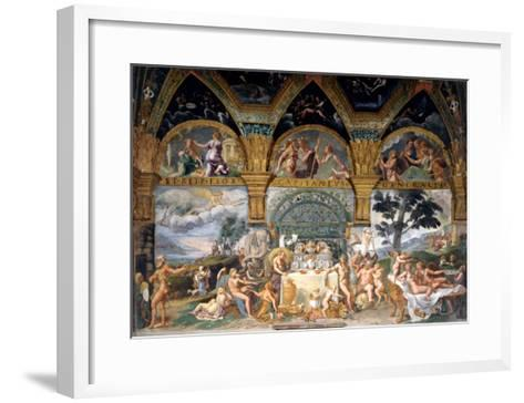 Bbanquet Celebrating the Marriage of Cupid and Psyche from the Sala Di Amore E Psiche, 1527-31-Giulio Romano-Framed Art Print