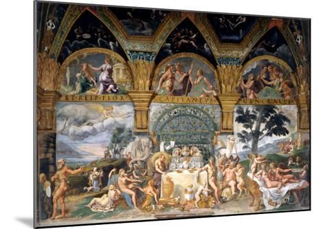Bbanquet Celebrating the Marriage of Cupid and Psyche from the Sala Di Amore E Psiche, 1527-31-Giulio Romano-Mounted Giclee Print