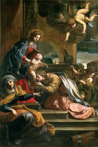 The Mystic Marriage of St. Catherine-Alessandro Tiarini-Stretched Canvas Print