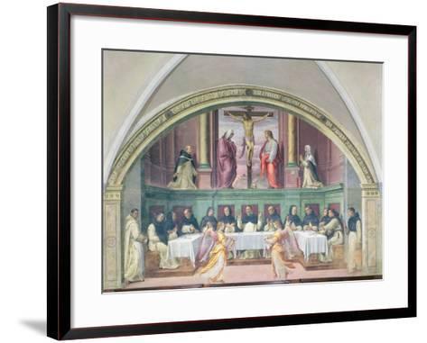 The Supper of St. Dominic, Lunette-Giovanni Antonio Sogliani-Framed Art Print