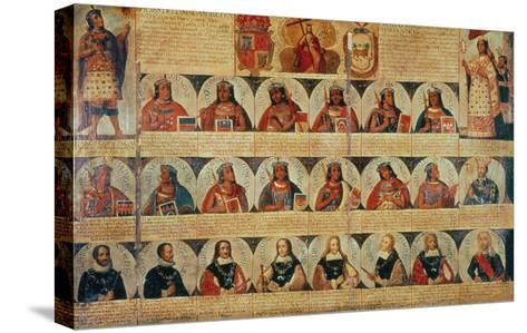 Genealogy of the Inca Rulers and Successors: Manco Capac to Ferdinand VI of Spain, c.1750--Stretched Canvas Print