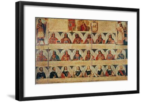 Genealogy of the Inca Rulers and Successors: Manco Capac to Ferdinand VI of Spain, c.1750--Framed Art Print
